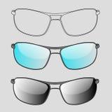 Insieme degli occhiali da sole e degli occhiali Fotografia Stock Libera da Diritti