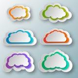 Insieme degli oggetti blu della nuvola undici differenti illustrazione di stock