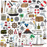 Insieme degli oggetti che simbolizzano navigazione illustrazione di stock