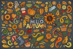 Insieme degli oggetti, degli oggetti e dei simboli di tema di autunno illustrazione di stock