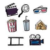 Insieme degli oggetti del cinema di scarabocchio Immagine Stock