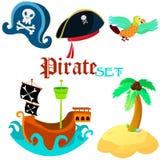 Insieme degli oggetti del pirata - Immagini Stock Libere da Diritti