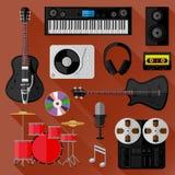 Insieme degli oggetti del suono e di musica Progettazione piana Fotografie Stock Libere da Diritti