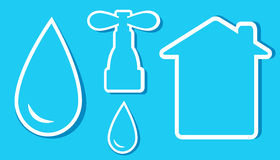 Insieme degli oggetti dell'acqua Immagini Stock Libere da Diritti