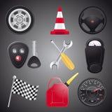 Insieme degli oggetti dell'automobile Immagini Stock
