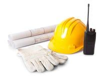 Insieme degli oggetti dell'operaio di costruzioni Fotografie Stock