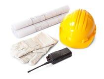 Insieme degli oggetti dell'operaio di costruzioni Fotografie Stock Libere da Diritti