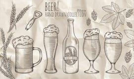 Insieme degli oggetti della birra Fotografia Stock