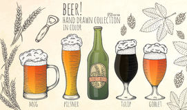 Insieme degli oggetti della birra Fotografie Stock