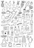 Insieme degli oggetti della cucina Fotografie Stock Libere da Diritti