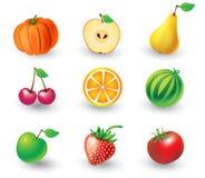 Insieme degli oggetti della frutta Fotografia Stock Libera da Diritti