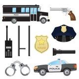 Insieme degli oggetti della polizia Immagini Stock