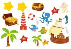 Insieme degli oggetti di pesca royalty illustrazione gratis