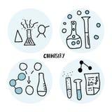 Insieme degli oggetti di scarabocchio di chimica Illistration di vettore illustrazione di stock