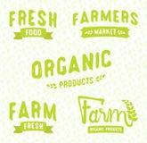 Insieme degli oggetti di vettore dei modelli del logos del mercato dell'agricoltore royalty illustrazione gratis