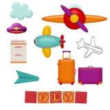 Insieme degli oggetti di viaggio Immagini Stock