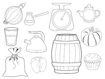 Insieme degli oggetti e degli alimenti della cucina Fotografia Stock Libera da Diritti