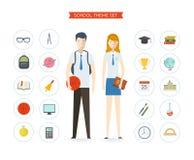 Insieme degli oggetti e dei caratteri di istruzione Fotografie Stock