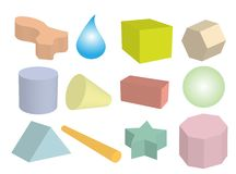 Insieme degli oggetti geometrici nei multi colori Immagine Stock