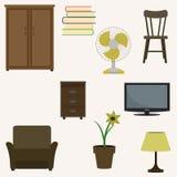 Insieme degli oggetti interni domestici Immagini Stock Libere da Diritti