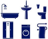 Insieme degli oggetti isolati del bagno Fotografia Stock Libera da Diritti