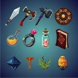 Insieme degli oggetti magici per il gioco di fantasia del computer Icone del fumetto messe illustrazione di stock
