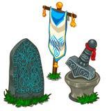 Insieme degli oggetti in mitologia di norvegesi Vettore isolato royalty illustrazione gratis