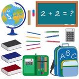 Insieme degli oggetti per formazione a scuola. Immagine Stock Libera da Diritti