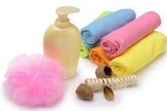 Insieme degli oggetti per l'igiene personale Fotografie Stock