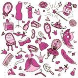 Insieme degli oggetti per le ragazze illustrazione di stock