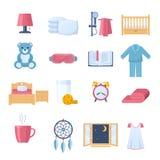 Insieme degli oggetti per sonno Tempo di dormire Mobilia, interna Fotografie Stock