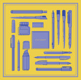 Insieme degli oggetti piani di progettazione per stazionario Fotografia Stock
