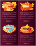 Insieme degli opuscoli con fogliame Autumn Big Sale 2017 Fotografia Stock
