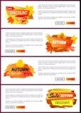 Insieme degli opuscoli con fogliame Autumn Big Sale 2017 Immagini Stock