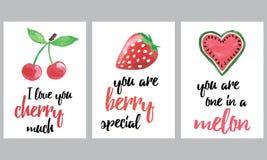 Insieme degli opuscoli con i frutti e le bacche Le insegne disegnate a mano di frutti di vettore messe con ispirazione citano Immagine Stock Libera da Diritti