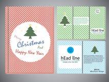 Insieme degli opuscoli di Natale nello stile d'annata, modello della copertina di libro per l'opuscolo, aletta di filatoio, rappo Immagini Stock Libere da Diritti
