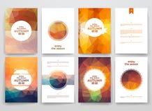 Insieme degli opuscoli nello stile di poligonal sull'autunno Fotografie Stock