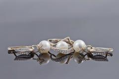 Insieme degli orecchini decorativi dell'oro con l'anello Fotografie Stock