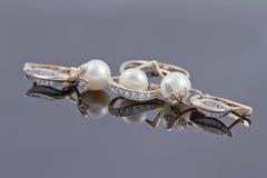 Insieme degli orecchini decorativi dell'oro con l'anello Fotografia Stock Libera da Diritti