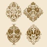 Insieme degli ornamenti del damasco di vettore. illustrazione di stock