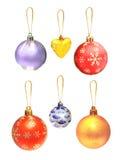Insieme degli ornamenti di Natale Immagini Stock Libere da Diritti