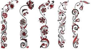 Insieme degli ornamenti floreali della decorazione Fotografia Stock