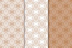 Insieme degli ornamenti floreali Modelli senza cuciture beige e bianchi di Brown, Immagini Stock