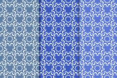 Insieme degli ornamenti floreali Modelli senza cuciture blu verticali Immagini Stock Libere da Diritti