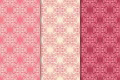 Insieme degli ornamenti floreali rossi Modelli senza cuciture verticali rosa della ciliegia Immagine Stock Libera da Diritti