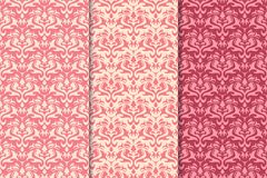 Insieme degli ornamenti floreali rossi Modelli senza cuciture verticali rosa della ciliegia Immagini Stock