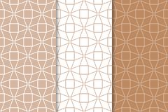 Insieme degli ornamenti geometrici Brown e modelli senza cuciture bianchi Fotografia Stock