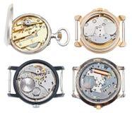 Insieme degli orologi con il movimento del quarzo e meccanico Fotografie Stock Libere da Diritti
