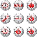 Porcellino salvadanaio dell'orologio Immagini Stock Libere da Diritti