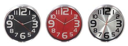 Insieme degli orologi di parete rotondi Fotografie Stock Libere da Diritti